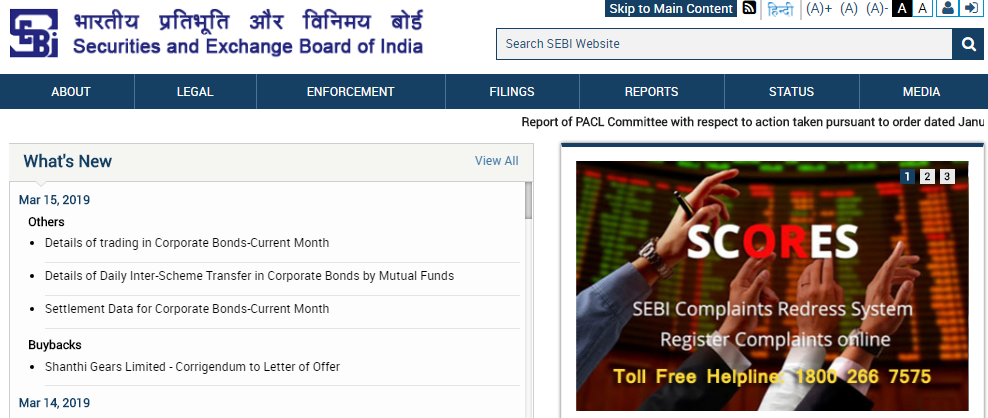 SEBI Official Website